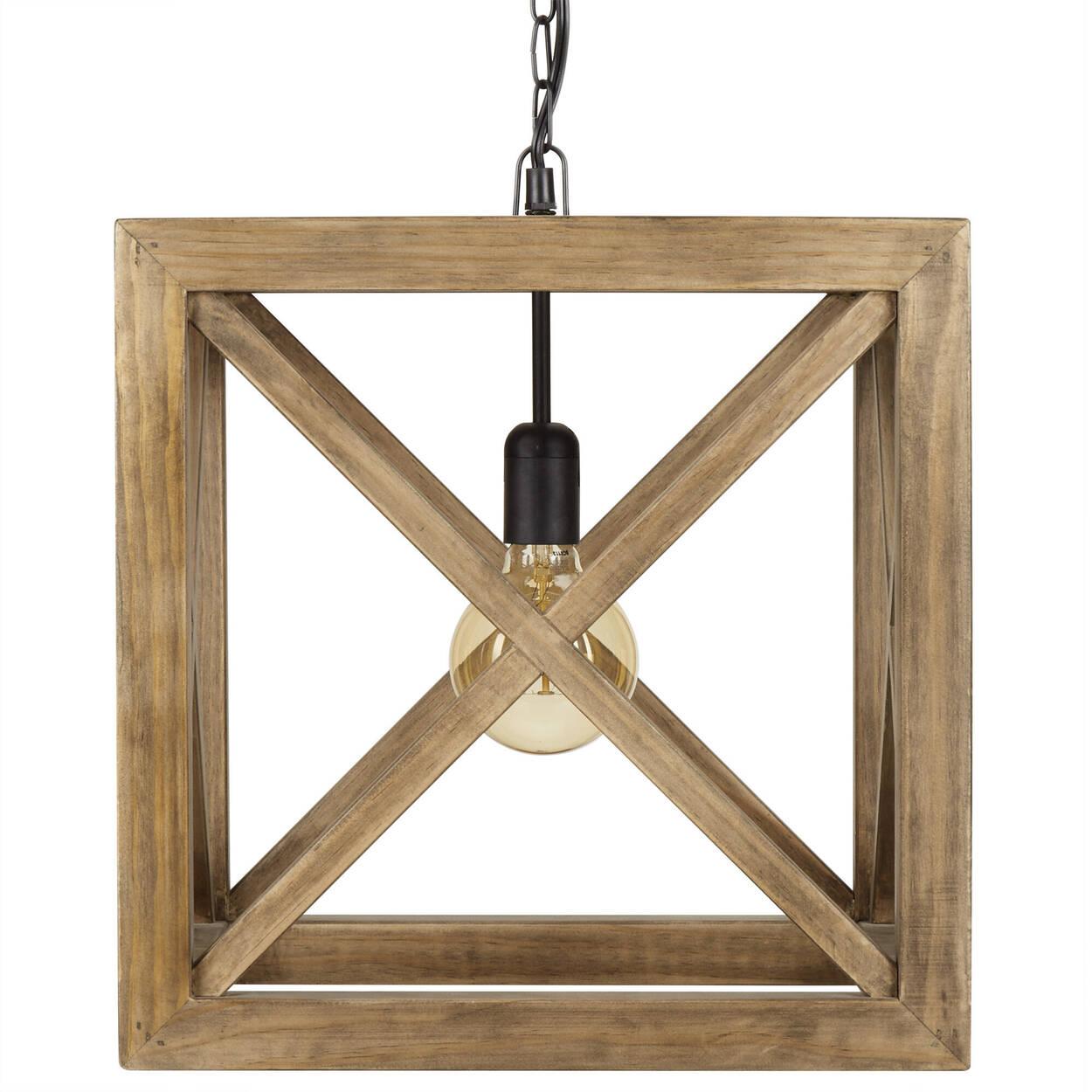 Lampe suspendue cube en bois