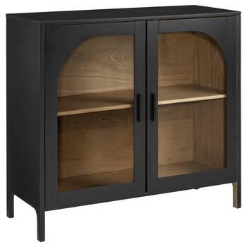 Buffet en bois noir avec portes en verre