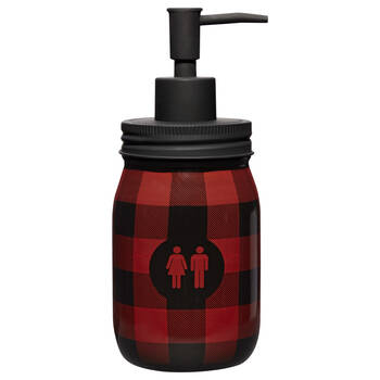 Plaid Mason Jar Soap Dispenser