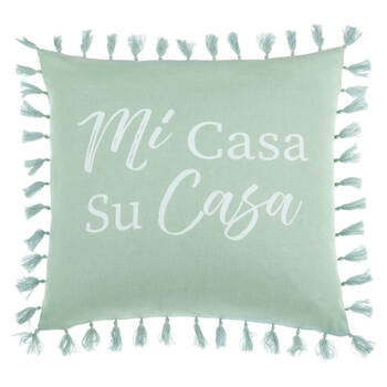 "Mi Casa Decorative Pillow Cover with Pom-Poms 18"" X 18"""