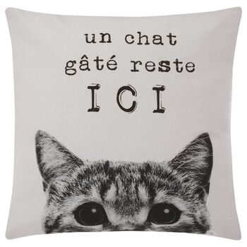 "Chat Gâté Decorative Pillow Cover 18"" X 18"""