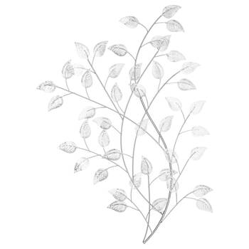 Silver Metal Leaves Wall Art