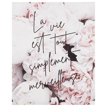 La Vie est Simplement Merveilleuse Typography and Peonies Wall Art