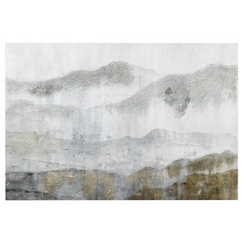 Printed Abstract Mountain Canvas with Gel Embellishment