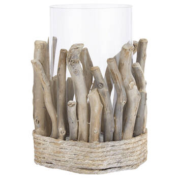 Driftwood and Glass Candle Holder