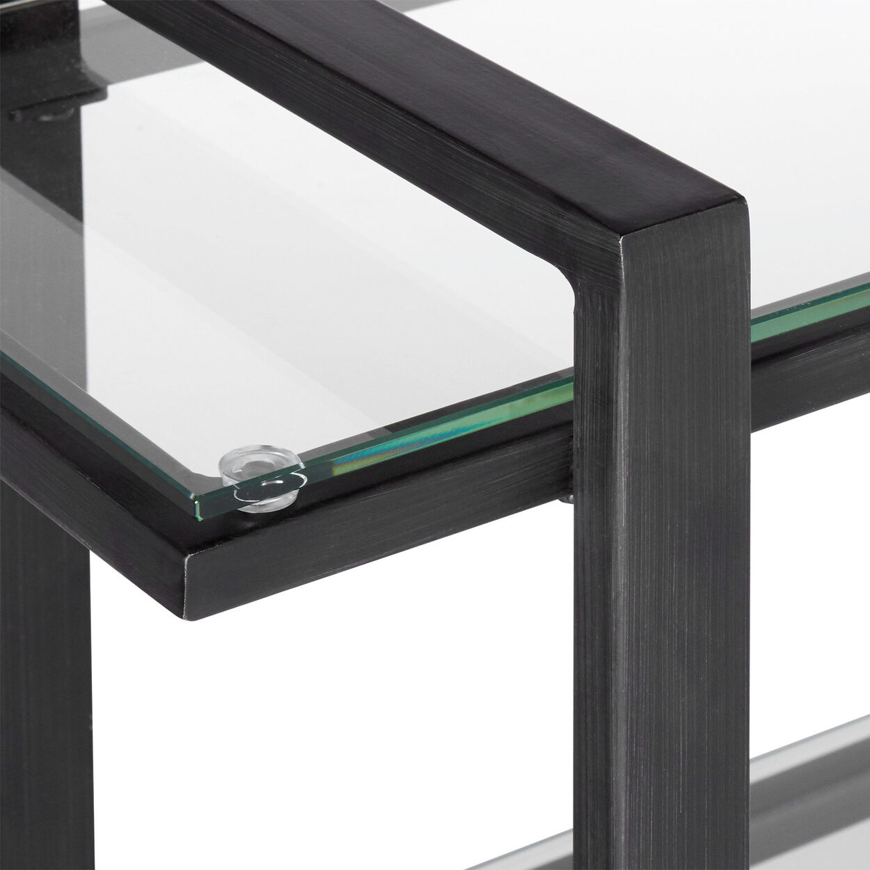 3-Shelf Glass and Metal Console Table