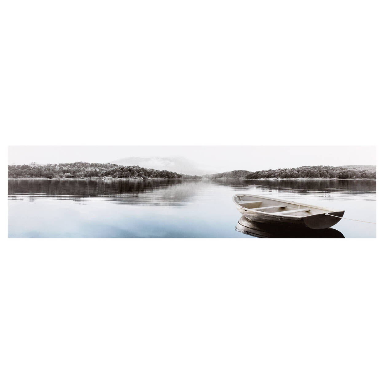 Boat and Lake Printed Canvas