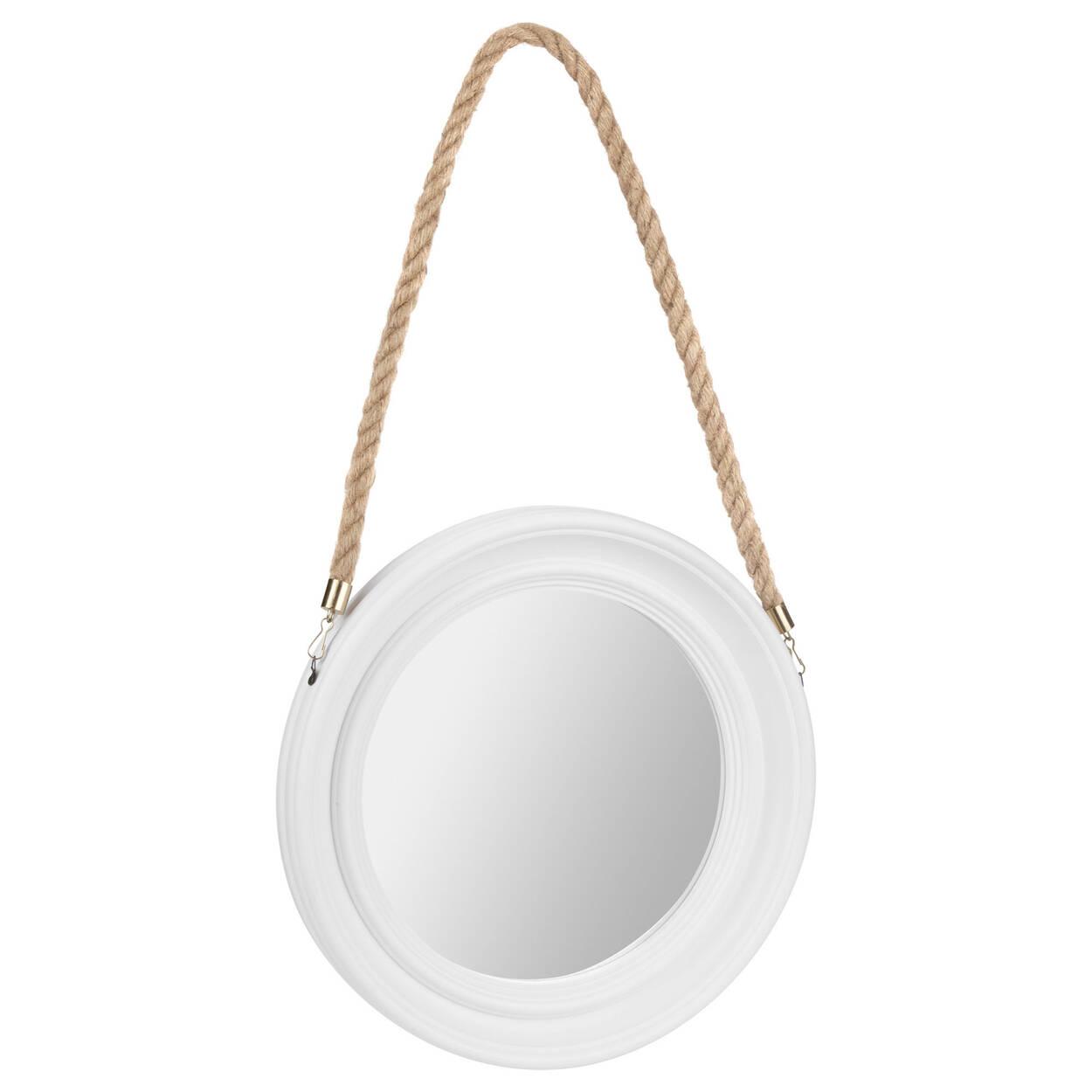 miroir rond avec support en corde