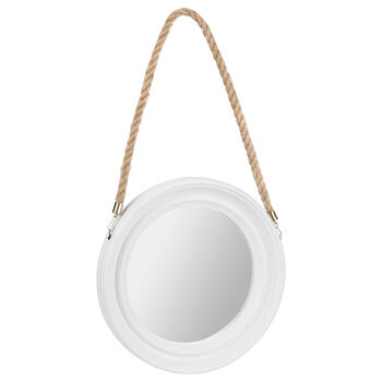 Round Mirror with Rope Hanger