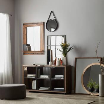 Three-Door Veneer and Iron Cabinet