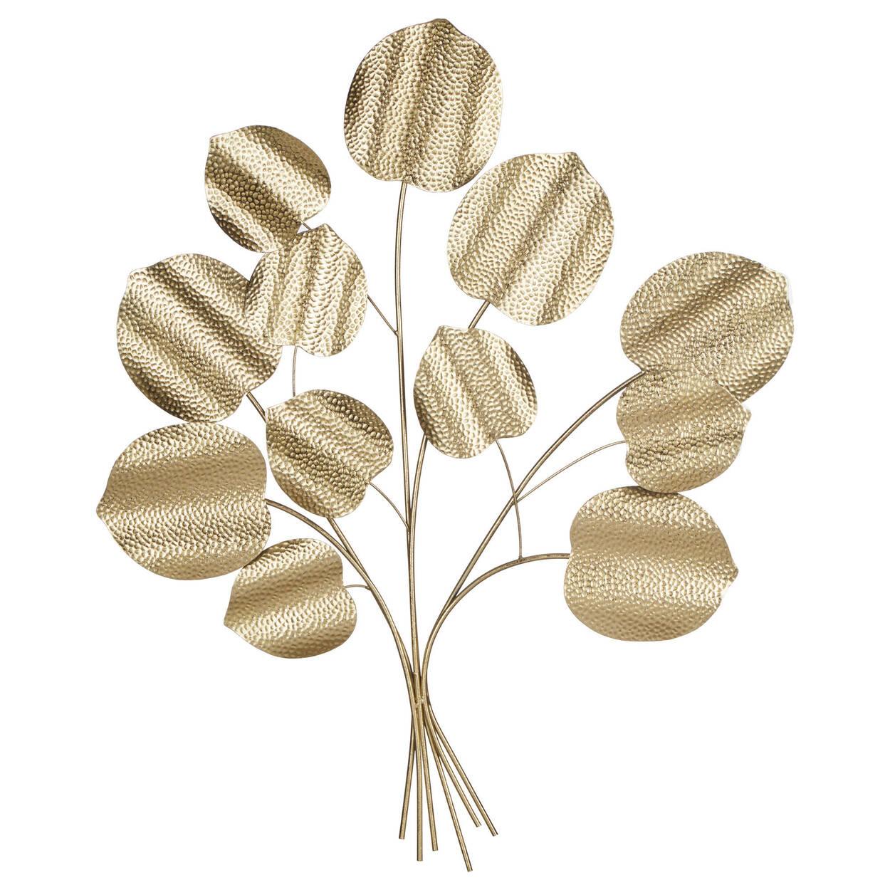 Gold Metal Leaves Wall Art