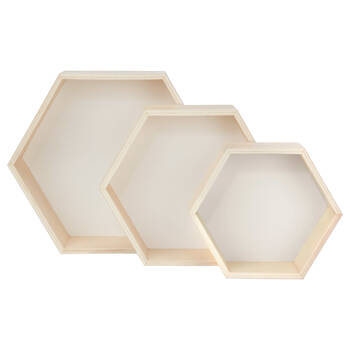 Set of 3 Hexagonal Wall Shelves