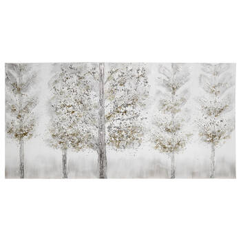 Silver Forest Oil-Painted Canvas