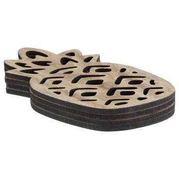 Set of 4 Wooden Pineapple Coasters