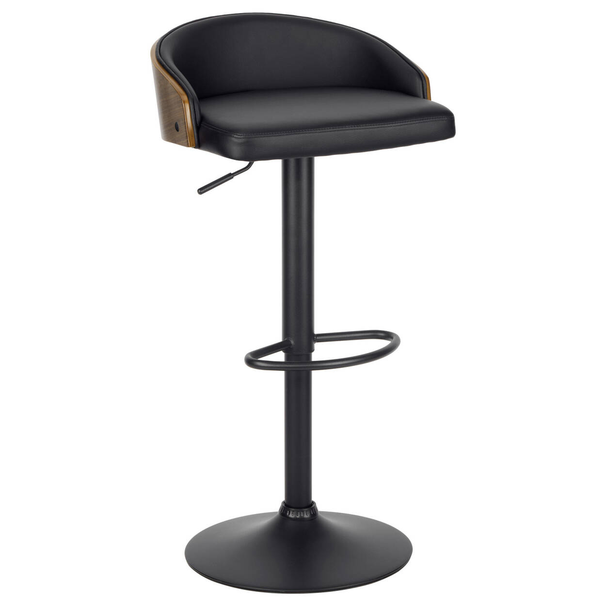 Faux Leather and Wood Adjustable Bar Stool with Metal Base
