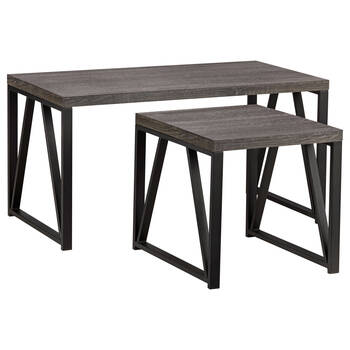Set of 2 Wood Tables with Metal Legs