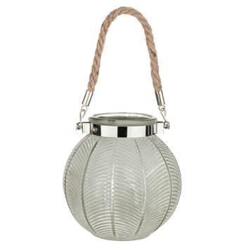Lanterne en verre avec poignée en corde