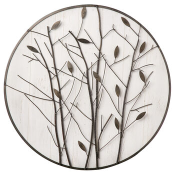 Round Metal Leaves Wall Art