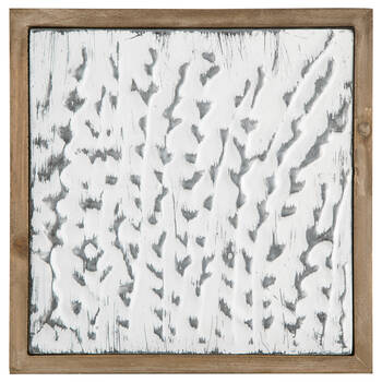 Abstract Embossed Metal and Wood Wall Art
