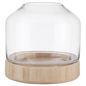 Porte-chandelle en verre et en bois