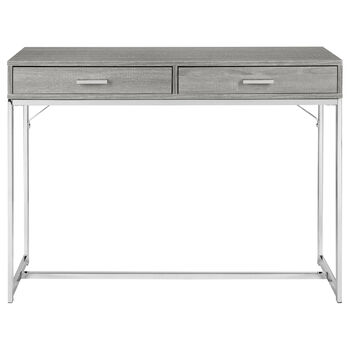 2-Drawer Wood Veneer and Chrome Console Table