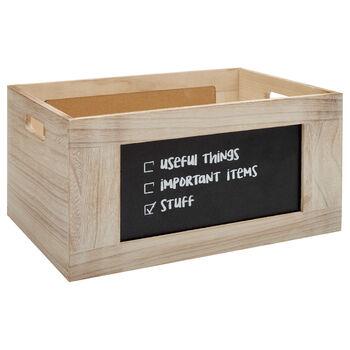 Grande caisse en bois avec tableau noir