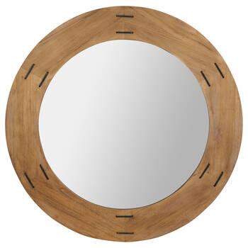 Round Stapled Wood-Framed Mirror