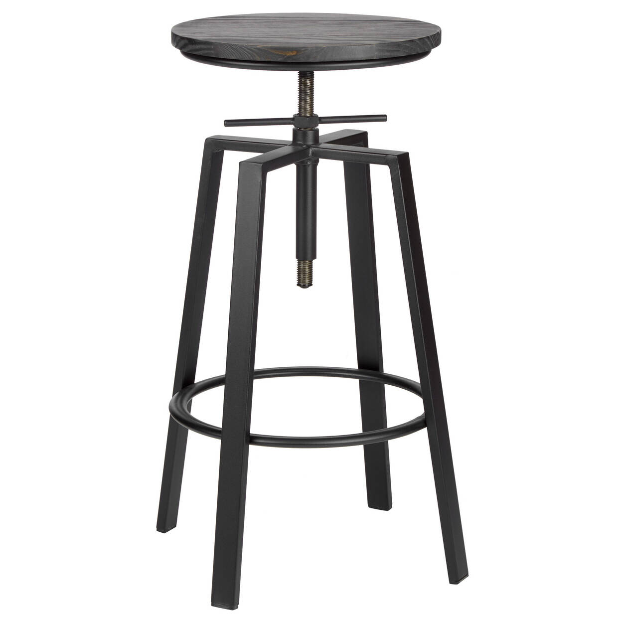 Admirable Adjustable Solid Elm Wood And Gun Metal Bar Stool Gmtry Best Dining Table And Chair Ideas Images Gmtryco