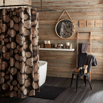 Logs of Wood Printed Shower Curtain