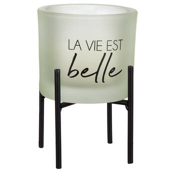Candle with Typography on a Stand