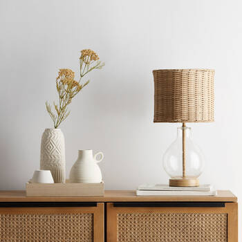 Bubble Glass and Rattan Shade Table Lamp