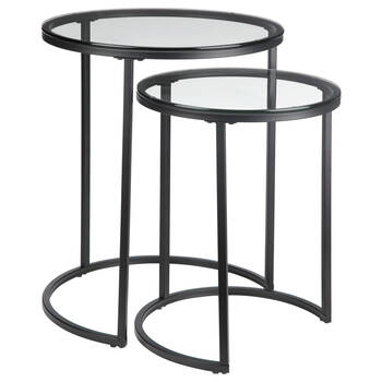 Set of 2 Glass Side Tables with Iron Legs