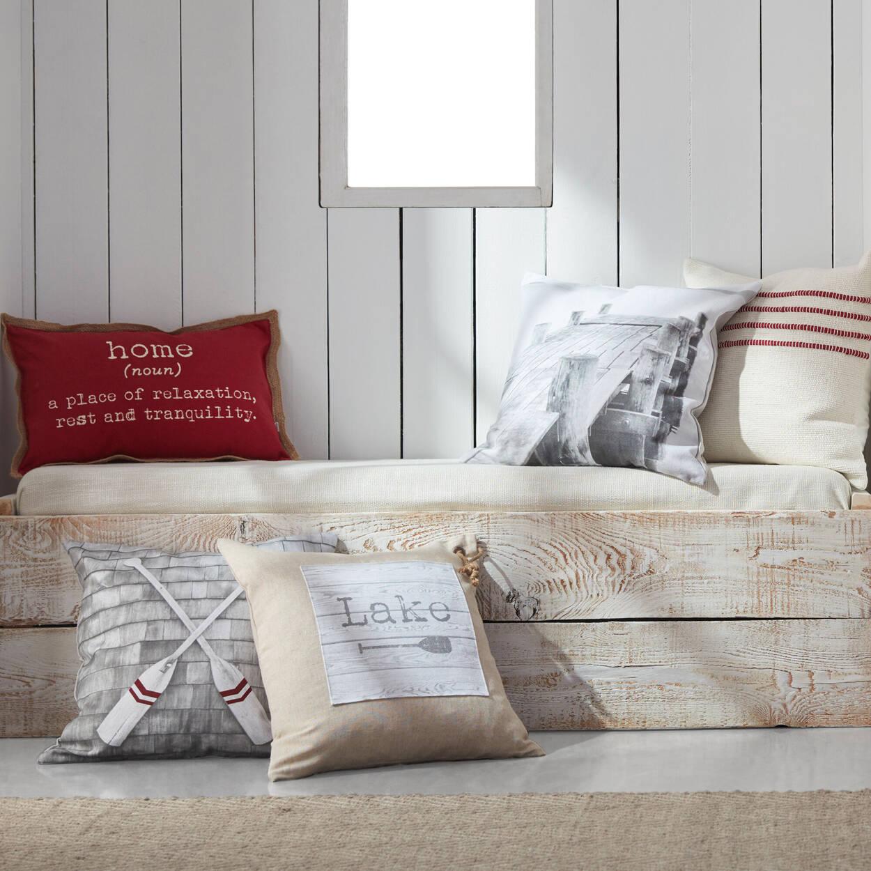 "Trina Embroidered Striped Decorative Pillow 19"" X 19"""