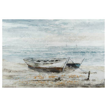 Gel-Embellished Stranded Boats Printed Canvas