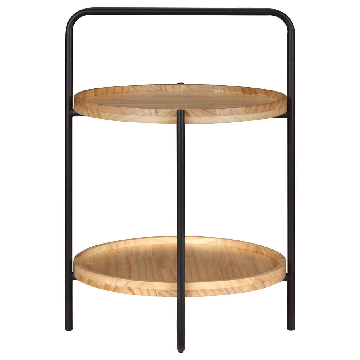 Natural Wood and Black Metal Side Table
