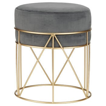 Velvet and Metal Stool