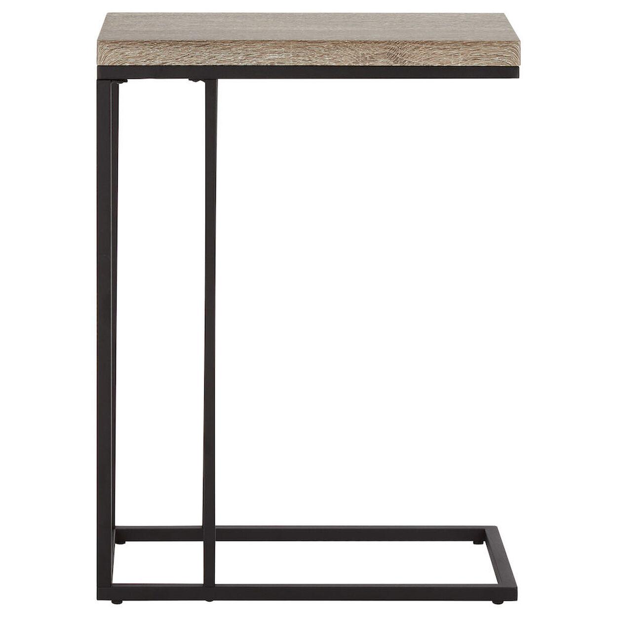 Wood Veneer & Metal Side Table