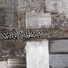 Tableau abstrait peint à l'huile avec embellissements de métal