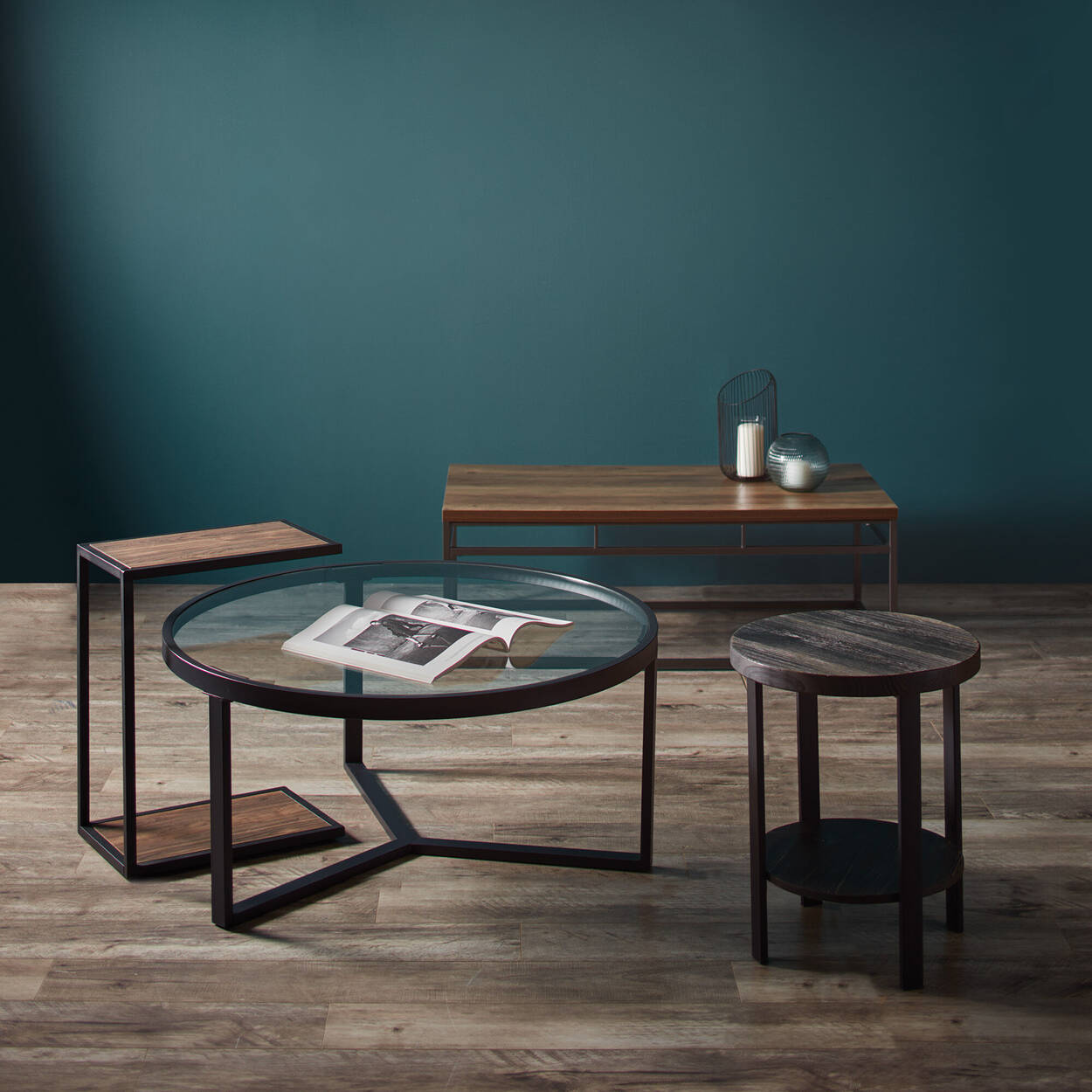 Round Wood and Metal Side Table