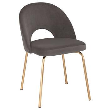 Chaise de salle à manger en velours et en métal