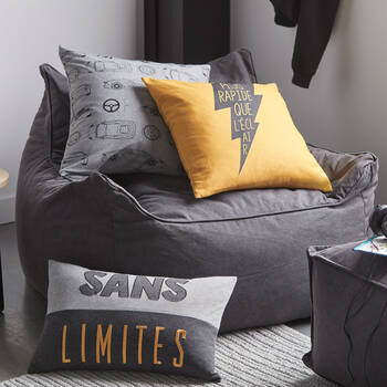 """Brian Decorative Pillow with French Typography 18 """" x 18"""""""