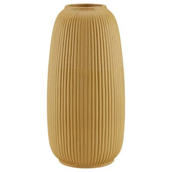 Stripe Textured Yellow Ceramic Vase