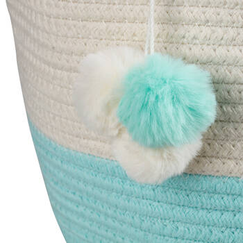 Two-Toned Storage Basket with Pom-Poms