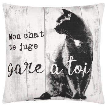 "Mon Chat Decorative Pillow Cover 18"" X 18"""