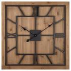 Horloge carrée en bois et métal