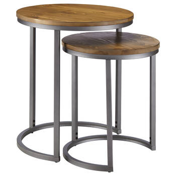 Set of 2 Pine Wood Side Tables with Metal Legs