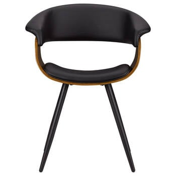 Black Faux Leather and Walnut Chair