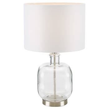 Lampe de table en verre bullé et en tissu