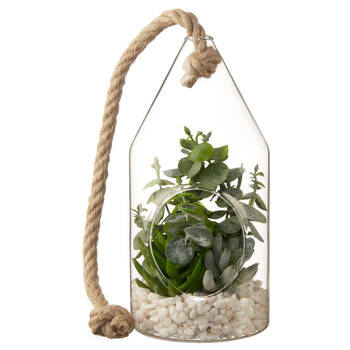 Hanging Terrarium with Artificial Succulent