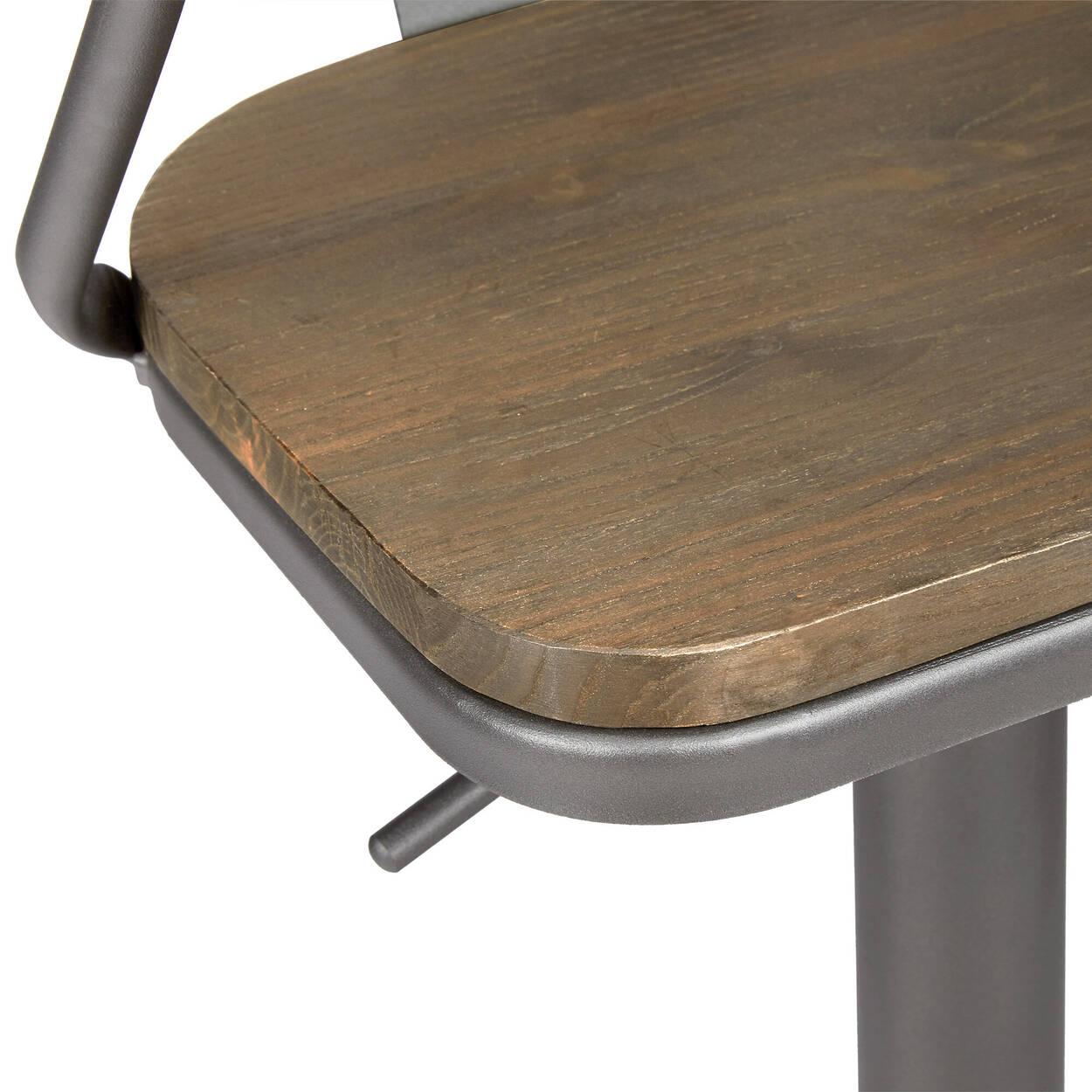 Solid Wood and Metal Bar Stool